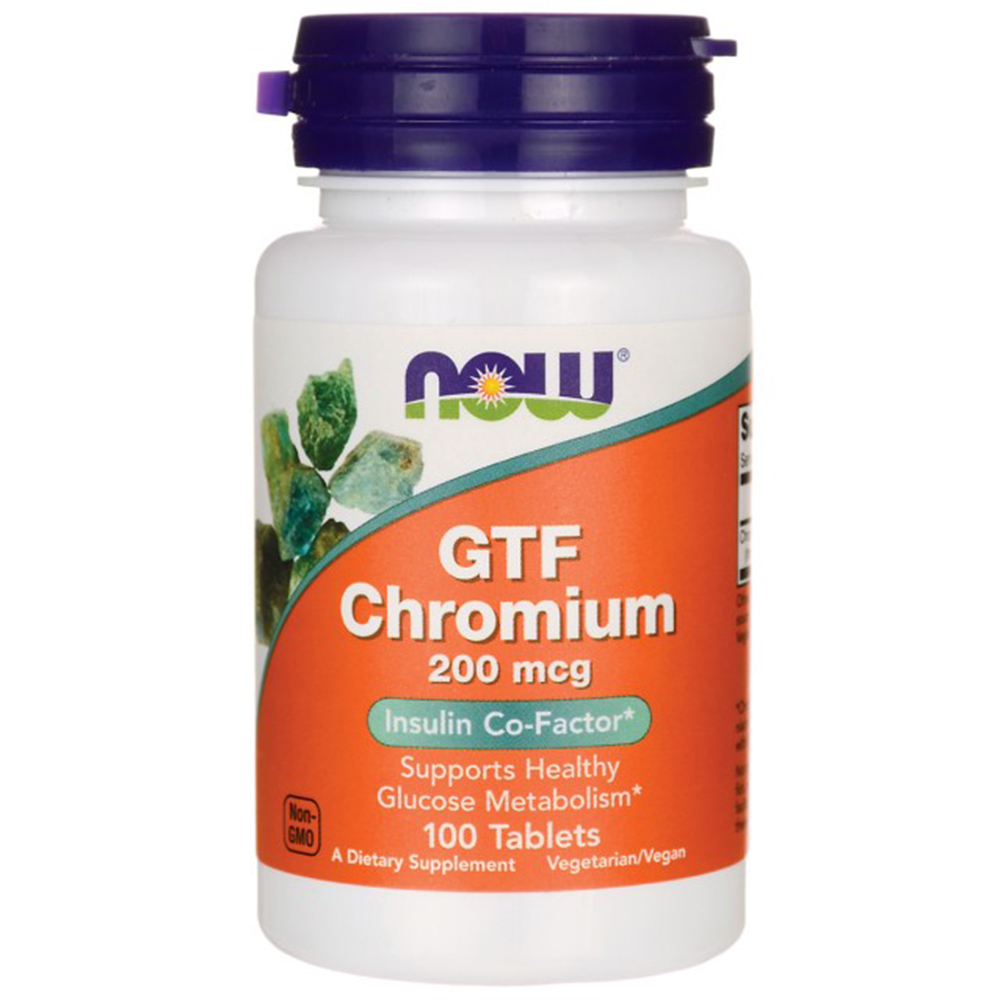 Витамины NOW GTF Chromium 200 mcg 100 tabs